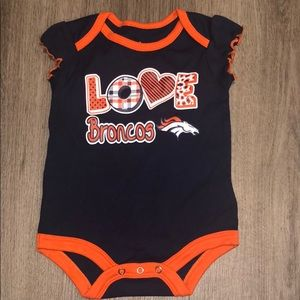 NFL girl onesie NWOT Love Broncos blue orange 🏈